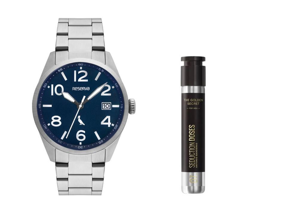 Relógio Masculino Reserva Prata RE2415AA/4K + Perfume Antonio Banderas The Golden Secret Dose Masculino EDT 30ml