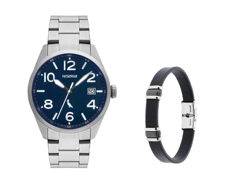 Relógio Masculino Reserva Prata RE2415AA/4K + Pulseira de Aço IPB e Couro Elos 10mm