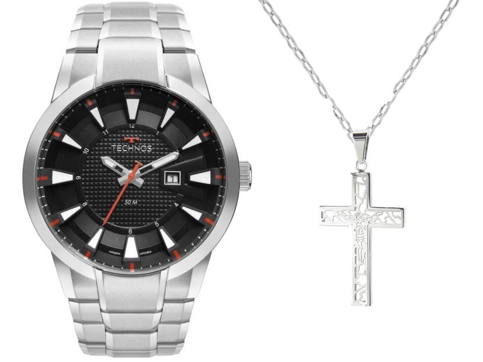 Relógio Masculino Technos 2117LDB/1P + Corrente Aço Cartier Cruz Vazada