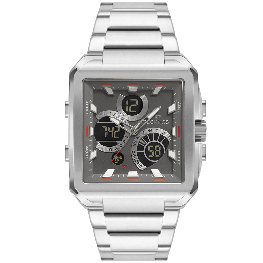 Relógio Masculino Technos Digiana Prata BJ3940AB/1C