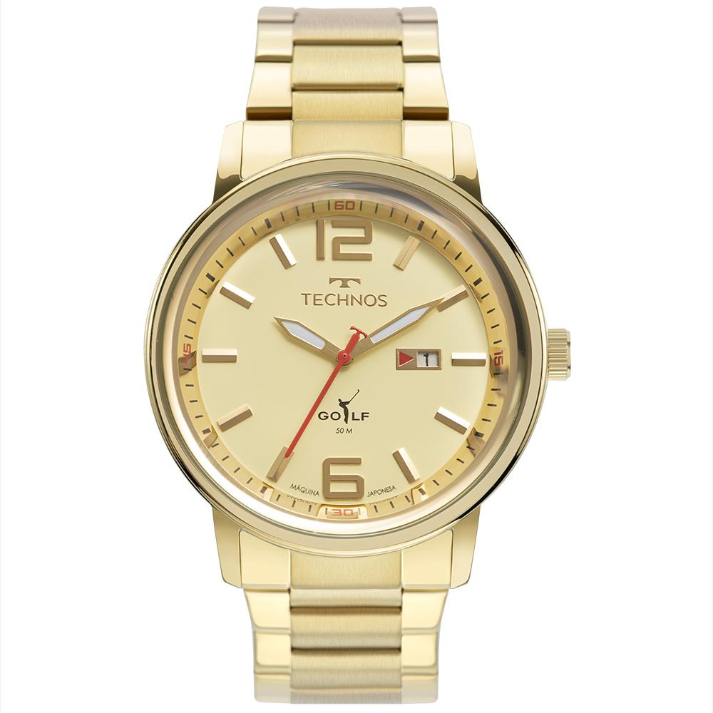 Relógio Masculino Technos Golf Dourado 2115MXX/1D