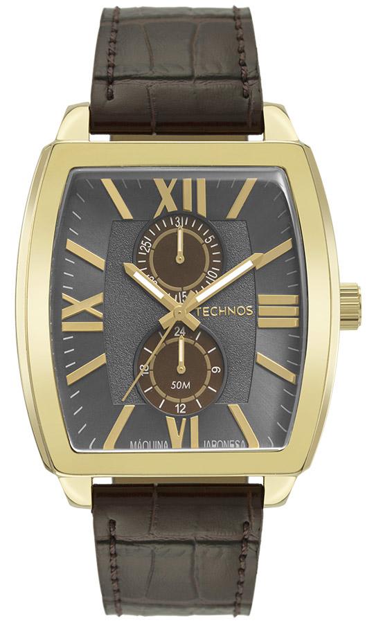 Relógio Masculino Technos Grandtech Pulseira Couro 6P23AO/0C