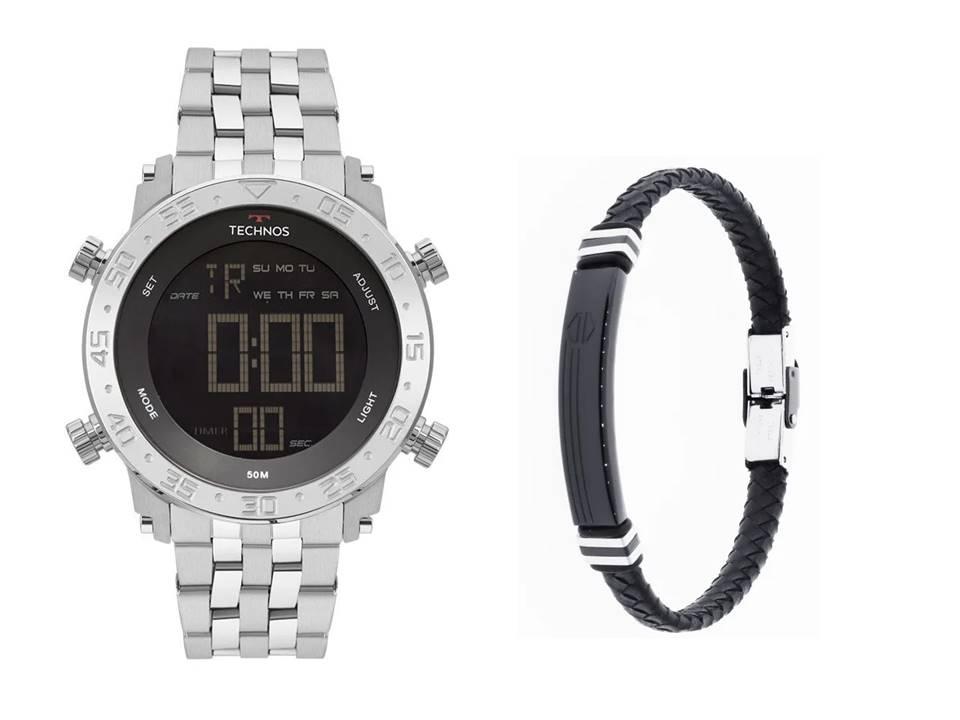 Relógio Masculino Technos Performance Digital BJK006AB/1P + Pulseira de Aço/Couro Preta Chapa IPB