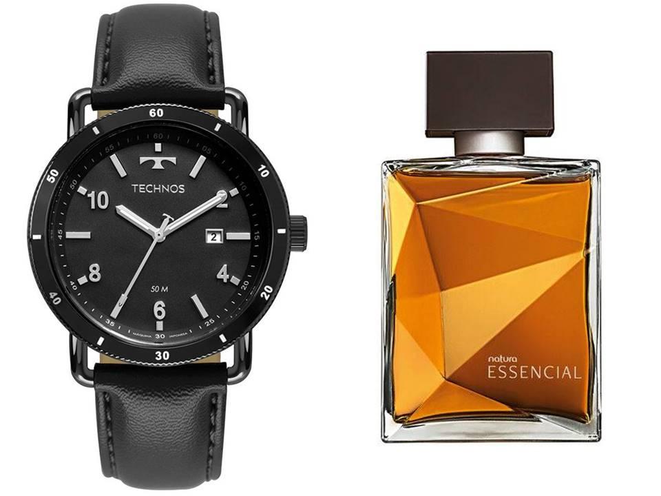 Relógio Masculino Technos 2115MUS/2P + Perfume Essencial Classico