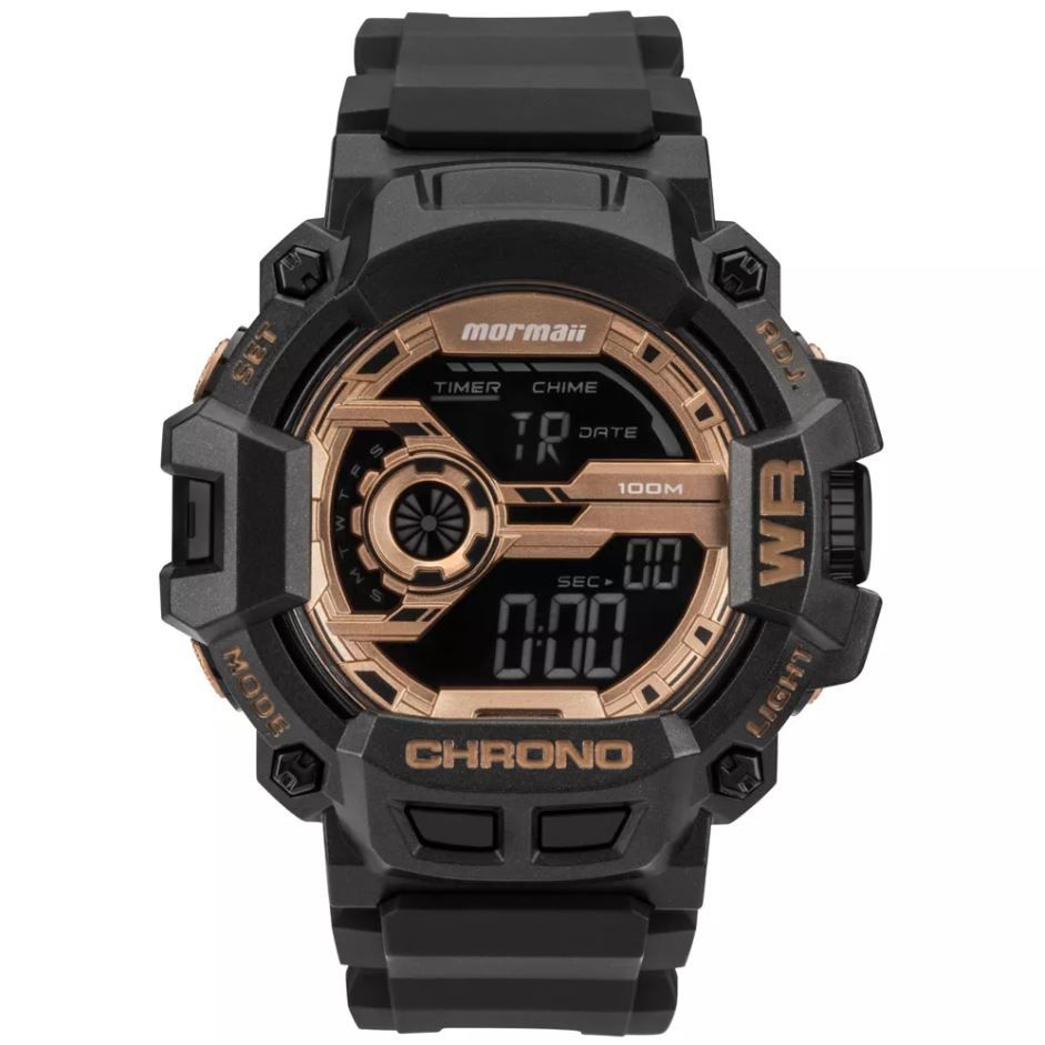 Relógio Mormaii Acqua Action Masculino Preto/Rose MO1105B/8J