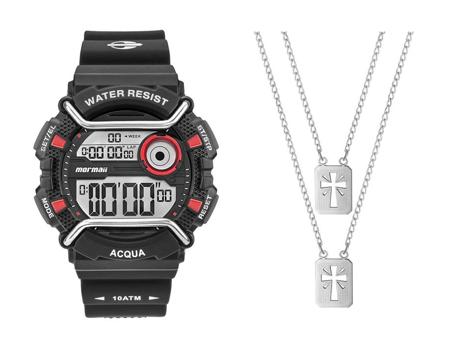 Relógio Mormaii Masculino MONXD/8R + Escapulário Aço Cruz com Brilho 14x11mm 60cm