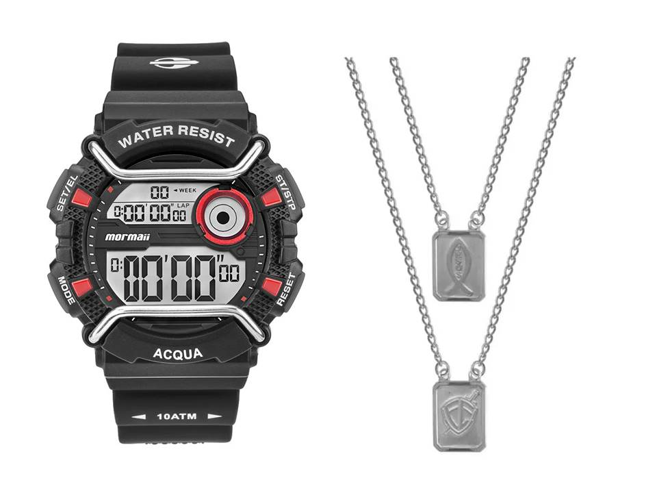 Relógio Mormaii Masculino MONXD/8R + Escapulário Aço Jesus e Simbolo Fé 14x11mm 60cm