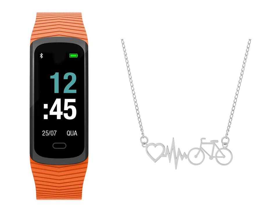 Relógio Mormaii Smart Fit GPS Pulseira Esportiva Laranja MOB3AA/8L + Colar de Aço Bike Batimento Coração
