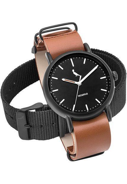 Relógio Reserva Troca Pulseiras Marrom / Preto RE2035AC/2P
