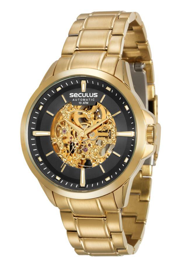 Relógio Seculus Masculino Esqueleto Automático 20552GPSVDA1