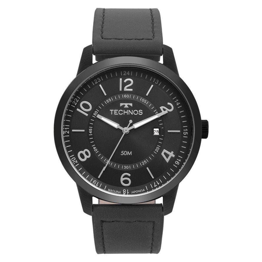 Relógio Technos Clasic steel Couro Masculino 2115MSR/2P