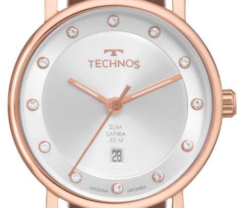 Relógio Technos  Classic Slim Couro Feminino 9T13AA/2K
