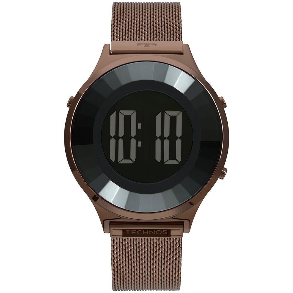 Relógio Feminino Technos Digital Crystal Marrom BJ3851AH/4P