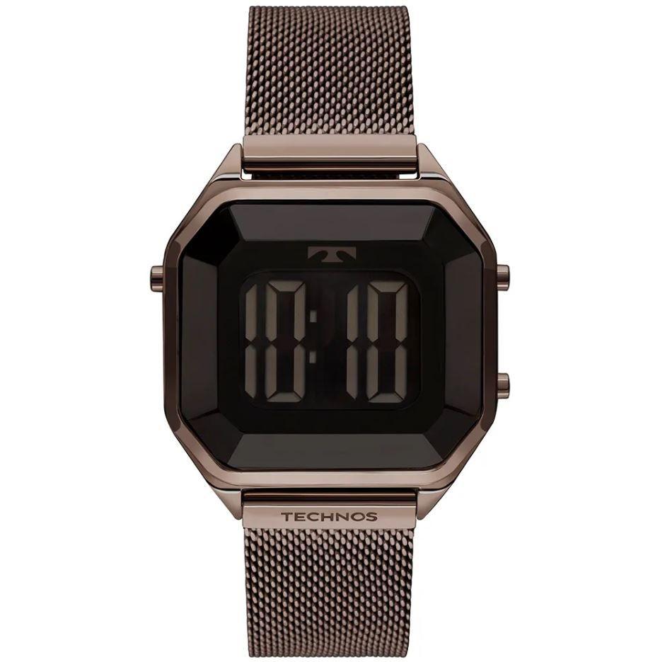 Relógio Feminino Technos Digital Crystal Marrom BJ3851AL/4P