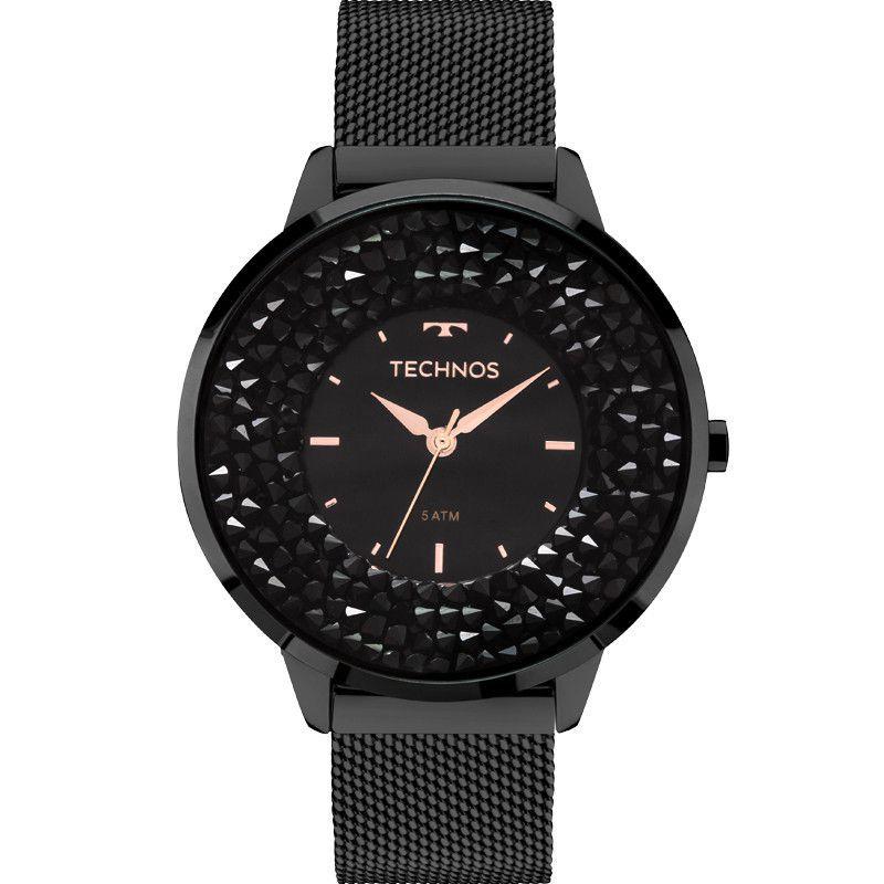 Relógio Feminino Technos Elegance Crystal Swarovski Preto 2035MLF/1P