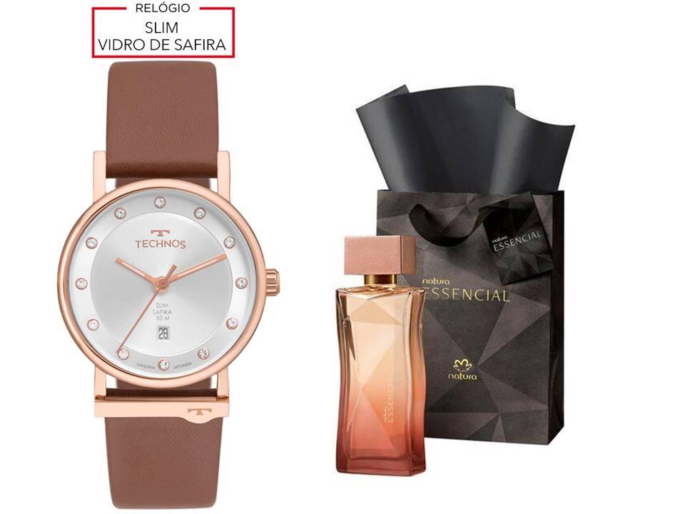 Relógio Technos Couro Feminino 9T13AA/2K + Perfume Essencial 100ML