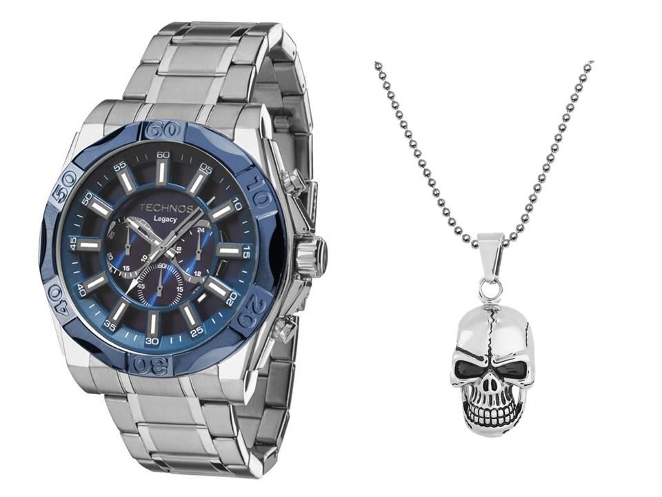 Relógio Technos Legacy Cronográfico Masculino JS25BB/1A + Caveira