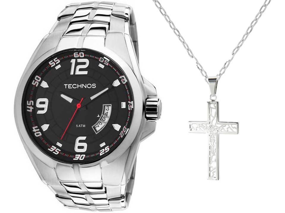 Relógio Technos Masculino 2115KSW/1R + Corrente Aço Pingente Cruz