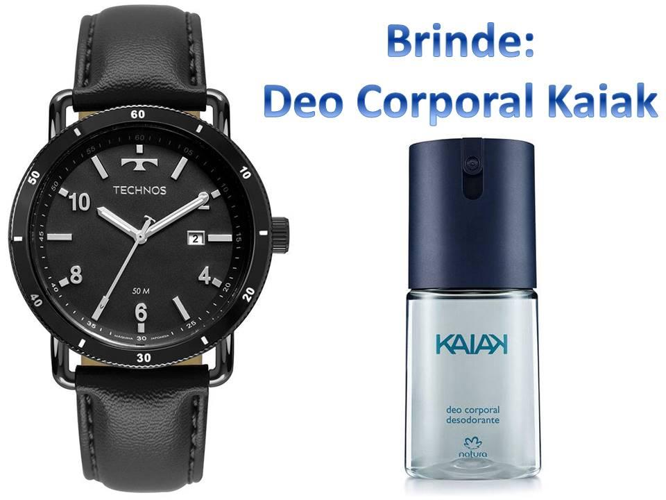 Relógio Technos Masculino 2115MUS/2P + Brinde Deo Corporal Kaiak