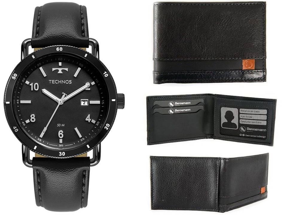 Relógio Technos Masculino 2115MUS/2P + Carteira de Couro Preto