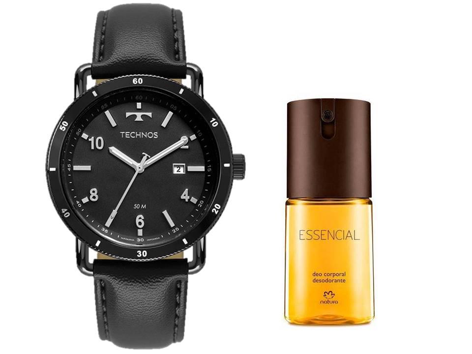 Relógio Technos Masculino 2115MUS/2P + Deo Corporal Essencial