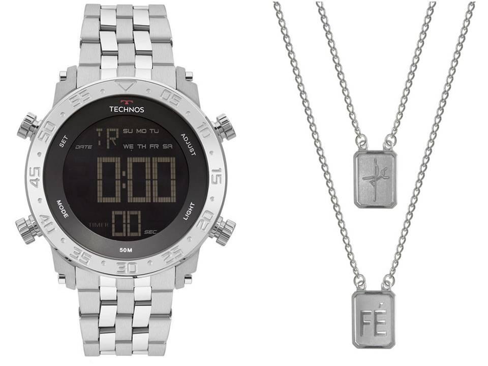 Relógio Technos Masculino Digital + Escapulário Aço Dupla Fé 14x11mm