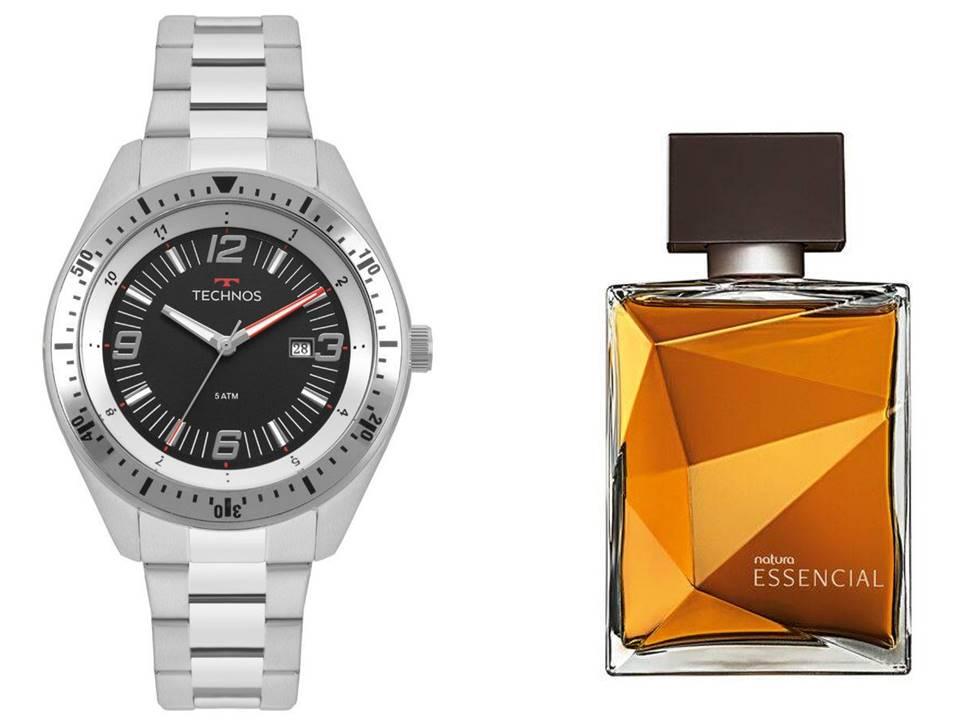 Relógio Technos Masculino 2115MQP/1P + Perfume Natura Essencial Classico
