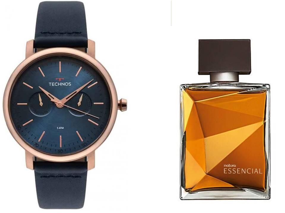 Relógio Technos Masculino 6P25BS/2A + Perfume Natura Essencial Classico