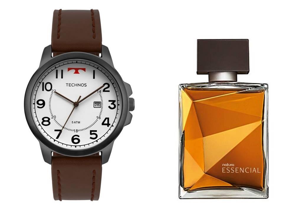 Relógio Technos Masculino 2115MPB/2B + Perfume Natura Essencial Classico