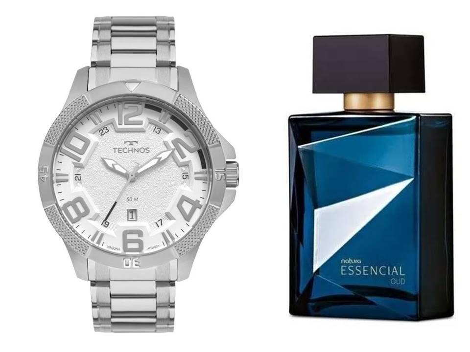 Relógio Technos Masculino + Presente Natura Essencial Oud