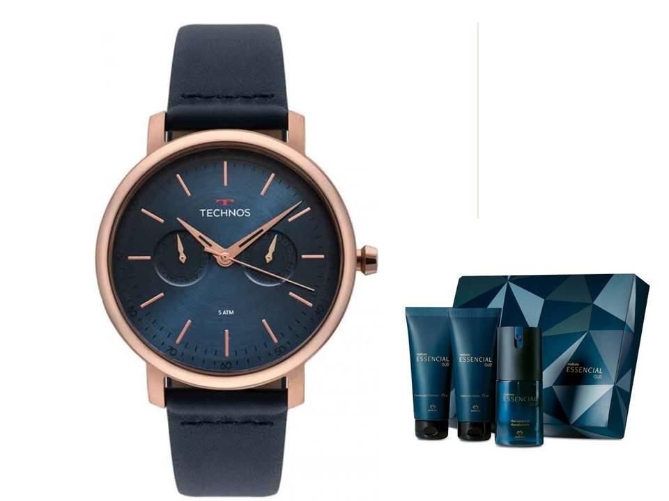 Relógio Technos Masculino 6P25BS/2A + Presente Natura Essencial Oud Barba