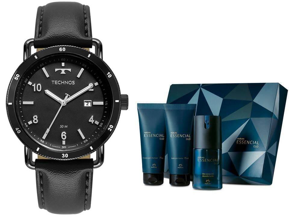Relógio Technos Masculino 2115MUS/2P + Presente Natura Essencial Oud Barba