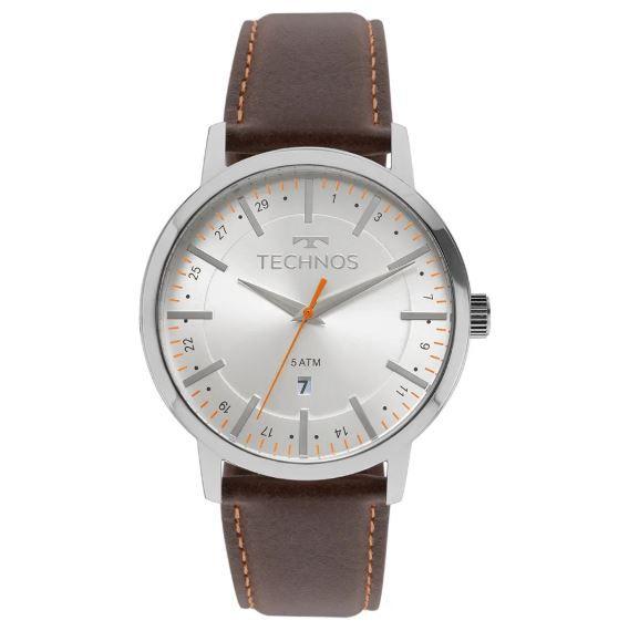 Relógio Technos Steel Couro Marrom Masculino 2115MMH/1B