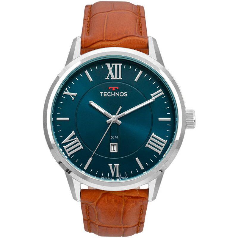 Relógio Masculino Technos Steel Couro 2115MTX/0A