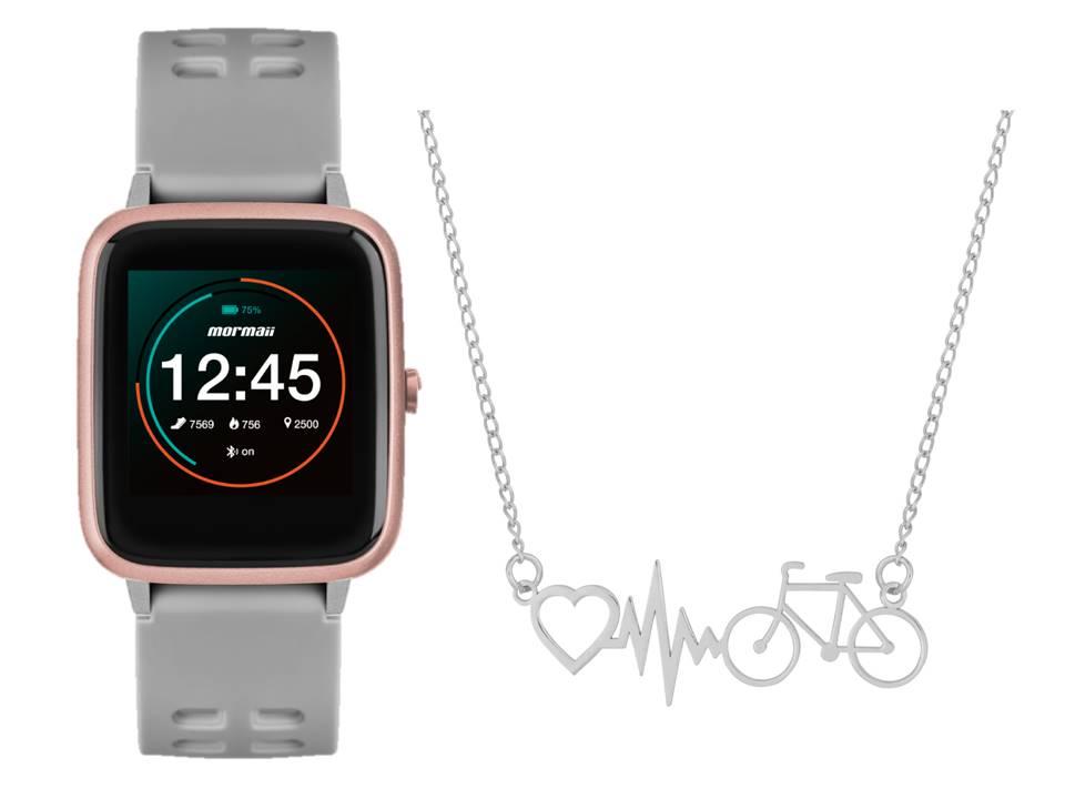 Smartwatch Mormaii Life Cinza MOLIFEAC/8K + Colar de Aço Bike Batimento Coração 45cm