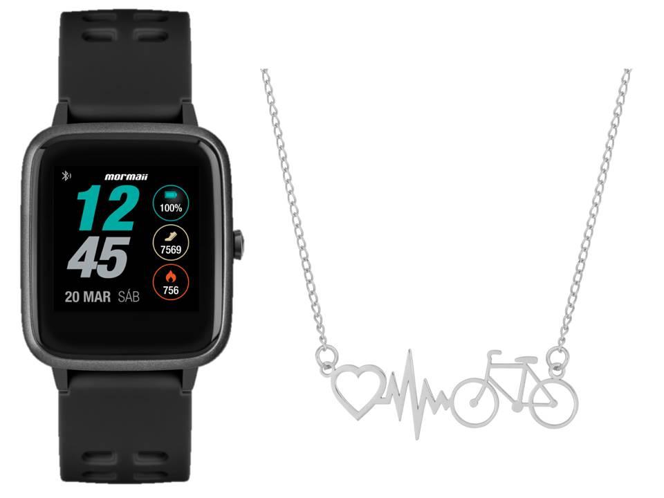 Smartwatch Mormaii Life Preto MOLIFEAB/8P + Colar de Aço Bike Batimento Coração 45cm