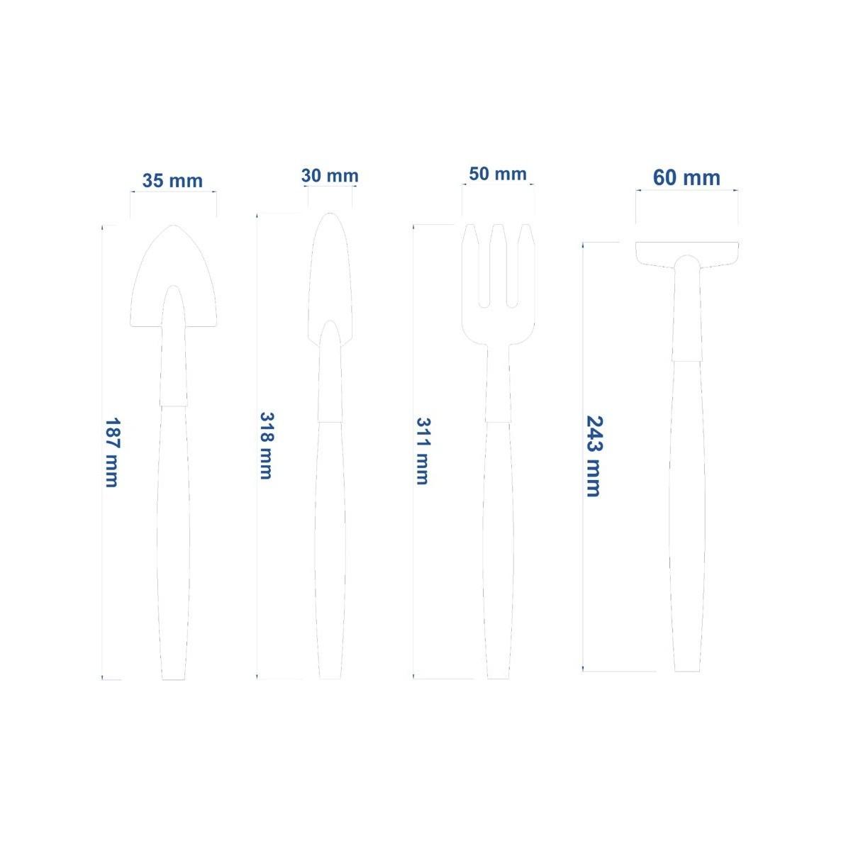 Conjunto de ferramentas para vasos 4 peças, cabos de madeira, embalagem plástica Cód. 78104801