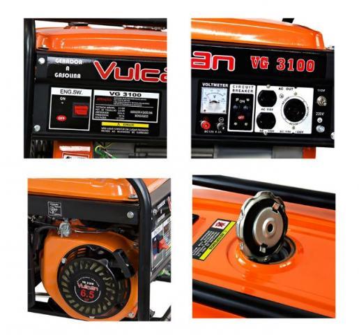 Gerador de Energia a Gasolina 4T Partida Manual 3,10kvA Bivolt VULCAN-VG3100