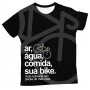 Camiseta Adulto Ar, Água, Comida, sua Bike Cinza MC