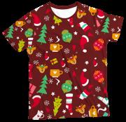 Camiseta Adulto Enfeites de Natal Vermelho MC