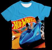 Camiseta Adulto Hot Wheels Azul MC