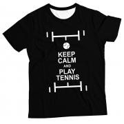Camiseta Adulto Keep Calm and Play Tennis BlackMC