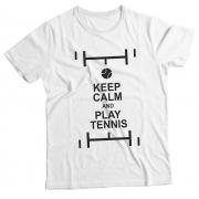 Camiseta Adulto Keep Calm and Play Tennis White MC