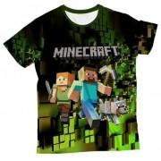 Camiseta Adulto Minecraft Verde MC