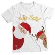Camiseta Adulto Natal Feliz Branco MC