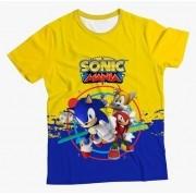 Camiseta Adulto Sonic Mania Amarela MC