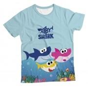 Camiseta Infantil Baby Shark Azul Claro MC