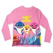 Camiseta Infantil Baby Shark Rosa ML