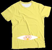 Camiseta Adulto Bebê na Barriga Amarela MC