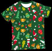 Camiseta Infantil Enfeites de Natal Verde MC
